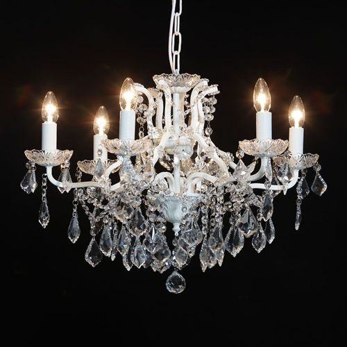 Antique French Cut Glass Crackle White Chandelier 6 arm